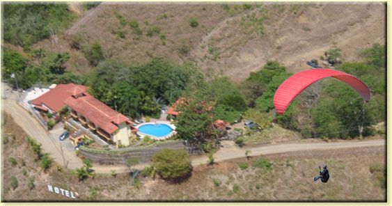 Paraglider over Hotel